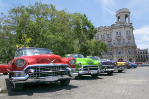 Vintage multi-coloured taxis in Cuba